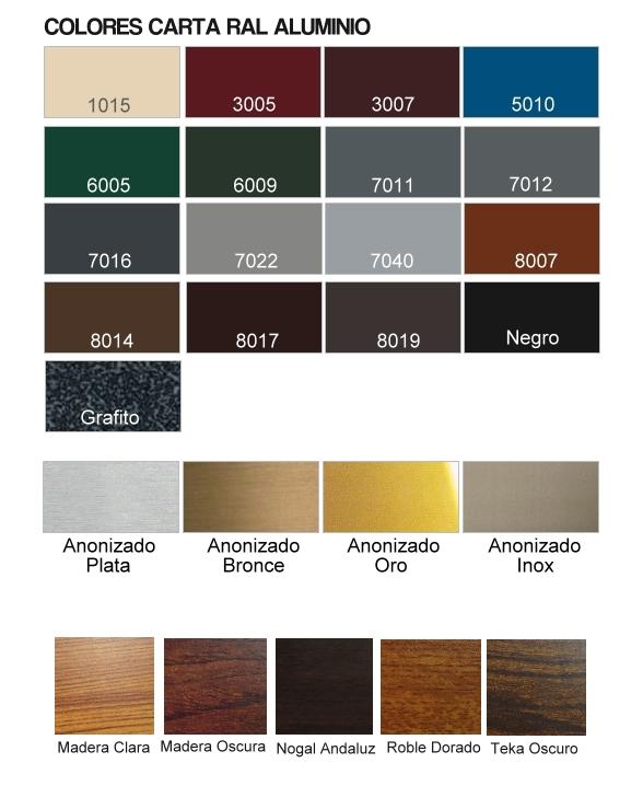 Mosquiteras correderas perfil z for Colores de perfiles de aluminio