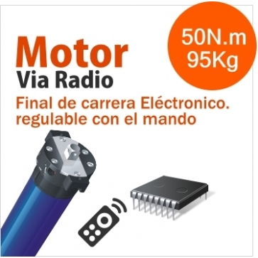 ELECTRÓNICO RADIO INTEGRADO MOTOR TUBULAR VIA RADIO ELECTRONICO Ø45mm (50N.m/95Kg)