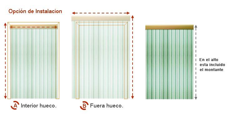 Opción instalación cortina exterior anti moscas