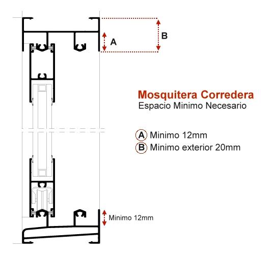 espacio necesario para colocar la mosquitera corredera