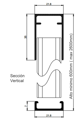 seccion vertical mosquitera plisada para puertas