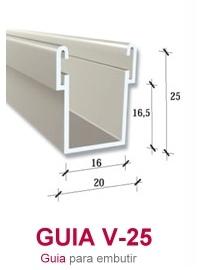 guía de aluminio pera embutir persianas