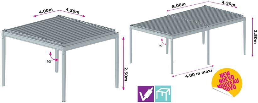 P rgola bioclimatica 4 pies modelo sans n - Medidas de pergolas ...