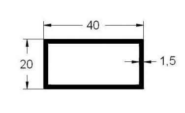 rectangular aluminio 40x20